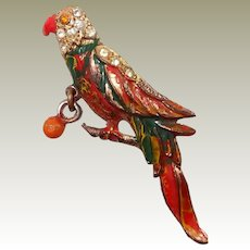 Enamel Perched Parrot Dangle Toy Ball