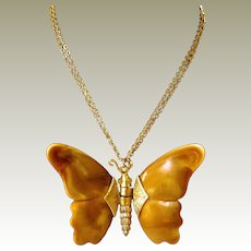Marbled Plastic Articulated Butterfly Necklace Book Piece