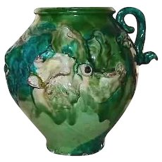 Majolica Pottery Pot FINAL REDUCTION SALE Decorative Three Dimensional Greens Pink