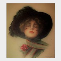 "Boileau Lithograph Postcard ""Have a Care"" Glamour Lady"
