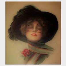 "Boileau Lithograph Postcard ""Have a Care"" Glamour Lady"