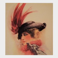 "Unposted Postcard Glamour Lady Bird Wing Feather Hat entitled ""Passing Fair"""