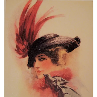 """Unposted Postcard Glamour Lady Bird Wing Feather Hat entitled """"Passing Fair"""""""