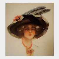 Unposted Glamour Lady Postcard by P. Boileau, Wide Rim Hat with Feathers