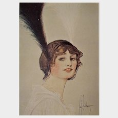 Art Deco Feather Horn Adorned Glamour Postcard