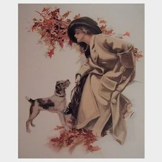 """1919 H. Fisher Postcard """"Can't you speak?"""" Glamour lady with dog"""