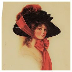 Antique Glamour Lady Postcard Large Rim Hat Red Ribbon