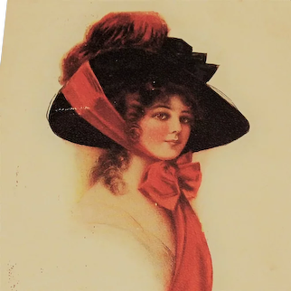 Antique Glamour Lady Postcard Large Rim Hat Red Ribbon