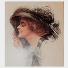 """1912 H. Fisher Postcard Glamour Girl """"Naughty, Naughty"""" Waging Finger"""