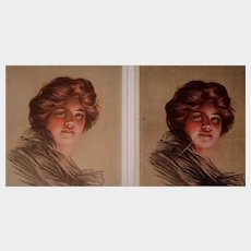 """P. Boileau Postcards of """"Peggy"""" set of two, unposted"""