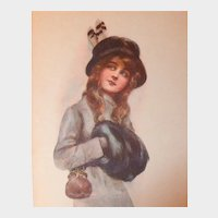 Antique Linen Lithograph Glamour Postcard by Arthur Wimble, unposted