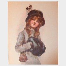 Antique Linen Lithograph Glamour Postcard by Arthur Wimble, unposted
