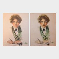 """Set of Signed Glamour Girl """"Loneliness"""" Postcards by Philip Boileau"""