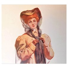 "Glamour Lady Postcard ""Motoring"" Wearing Car Hat and Coat"