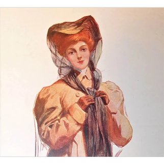"""Glamour Lady Postcard """"Motoring"""" Wearing Car Hat and Coat"""