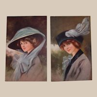Glamour Fashion Postcard Set -Ladies with Riding Hats