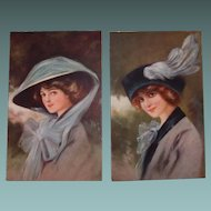 Glamour Fashion Postcard Set Wearing Hats Signed CH.R