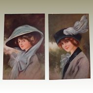 Glamour Fashion Postcard Set Wearing Hats FINAL REDUCTION SALE