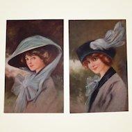 Glamour Fashion Postcard Set Wearing Hats