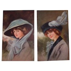 Glamour Fashion Postcard Set Wearing Hats