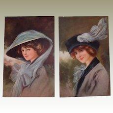 Glamour Fashion Postcard Set Wearing Hats FINAL REDUCTION SALE