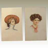 End of Year BLOWOUT SALE Beautiful Glamour Lady Postcards Hand Painted Lithographs 1910