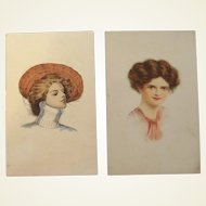 Beautiful Glamour Lady Postcards Hand Painted Lithographs 1910