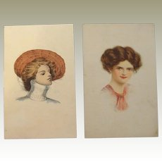 FINAL REDUCTION SALE Beautiful Glamour Lady Postcards Hand Painted Lithographs 1910