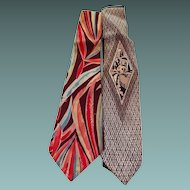 Two 1940s Unique Mens Neckties