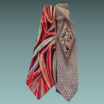 Two 1940s Unique Mens Neckties