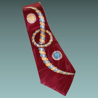 Wide 1940s Astral Swirls Necktie, Fabric Loomed in U.S.A.