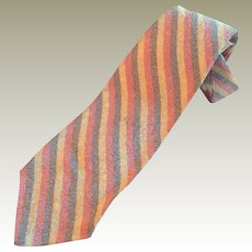 Pale Striped Textured Necktie by Wembley