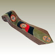 Olive Red Black Maltese Cross Necktie