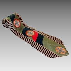 Olive Red Black Maltese Cross Necktie