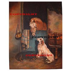 Friendship Between Dog and Horse Original Oil Painting by Hungarian Artist