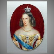 Antique Miniature Portrait of Russian Empress Alexandra