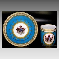 Antique French Armorial Porcelain SEVRES Cup and Saucer 1793