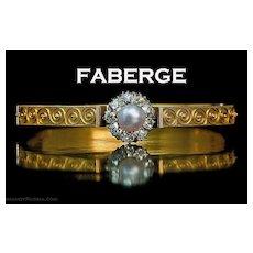 FABERGE Antique Etruscan Revival Natural Pearl Diamond 14K Gold Bangle Bracelet