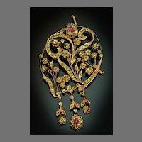 Antique Art Nouveau Russian Demantoid Rose 14K Gold Pendant Brooch