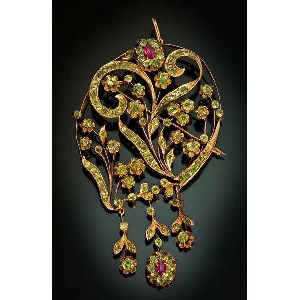 Antique art nouveau russian demantoid rose 14k gold for Best place to sell gold jewelry in chicago