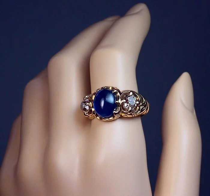 Antique russian cabochon sapphire old mine cut diamond 14k for Best place to sell gold jewelry in chicago