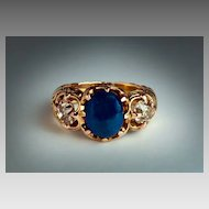 Antique Russian Cabochon Sapphire Old Mine Cut Diamond 14K Gold Carved Men's Ring
