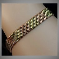 Vintage Russian 14K Two Color Gold Mesh Bracelet