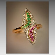 Navette Shaped Snake Ring c. 1910
