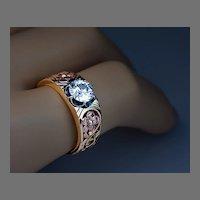 Art Nouveau Diamond Solitaire 14K Gold Men's Ring