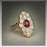 Antique Red Spinel Diamond Cluster Ring c. 1900