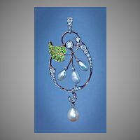 Art Nouveau Antique Diamond Demantoid Pearl  Pendant