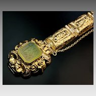 Georgian 18K Gold and Jade Bracelet