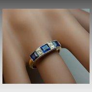 Antique Edwardian Sapphire Diamond 18K Gold Ring