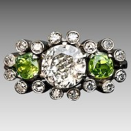 Vintage 1 Carat Diamond and Demantoid Ring
